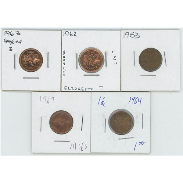 1953 & 62 & 63 & 64 & 67 Canadian 1 Cent Coins
