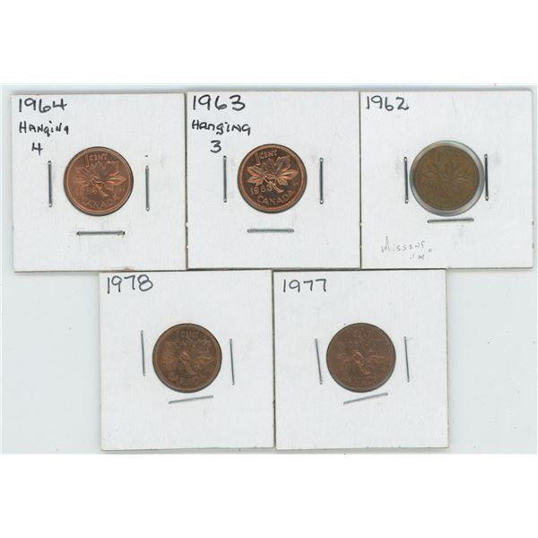 1962 & 63 & 64 & 77 & 78 Canadian 1 Cent Coins