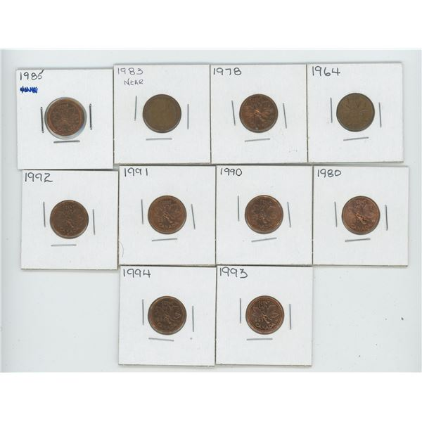 10 X Various 1964 -1994 Canadian 1 Cent Coins
