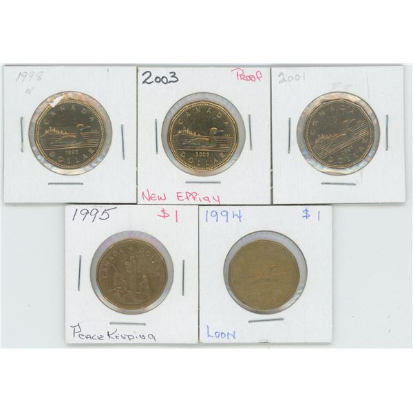 5 X Various 1994 - 2003 Canadian 1 Dollar Coins