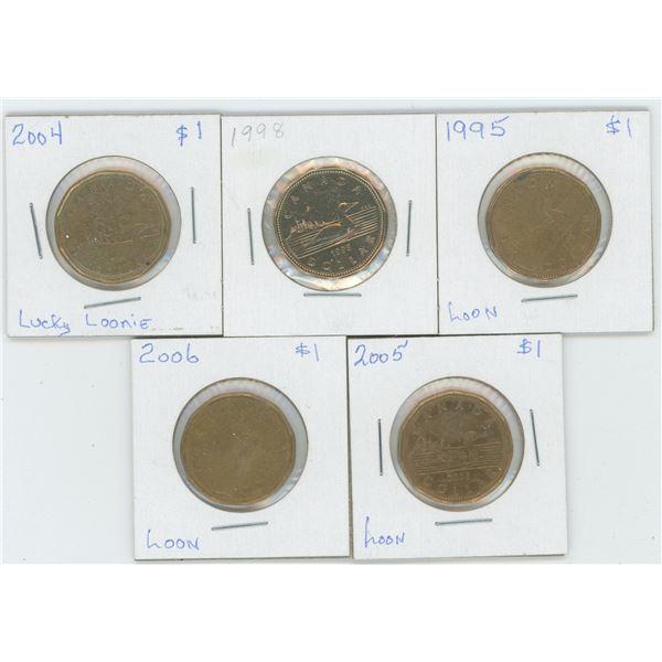 5 X Various 1995 - 2006 Canadian 1 Dollar Coins