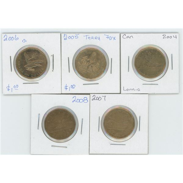 5 X  2004 - 2008 Canadian 1 Dollar Coins