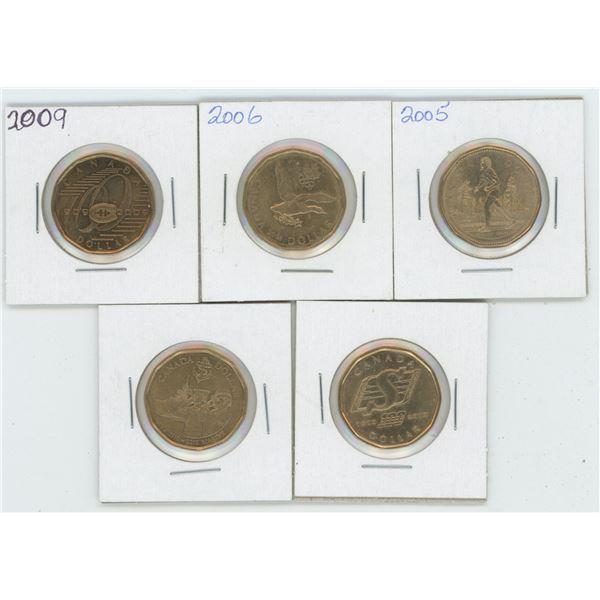 5 X Various 2005 - 2010 Canadian 1 Dollar Coins