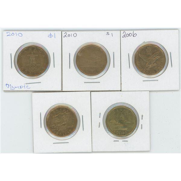 5 X Various 2006 - 2015 Canadian 1 Dollar Coins