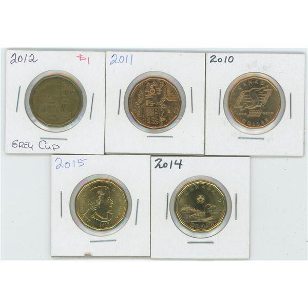 5 X Various 2010 - 2015 Canadian 1 Dollar Coins