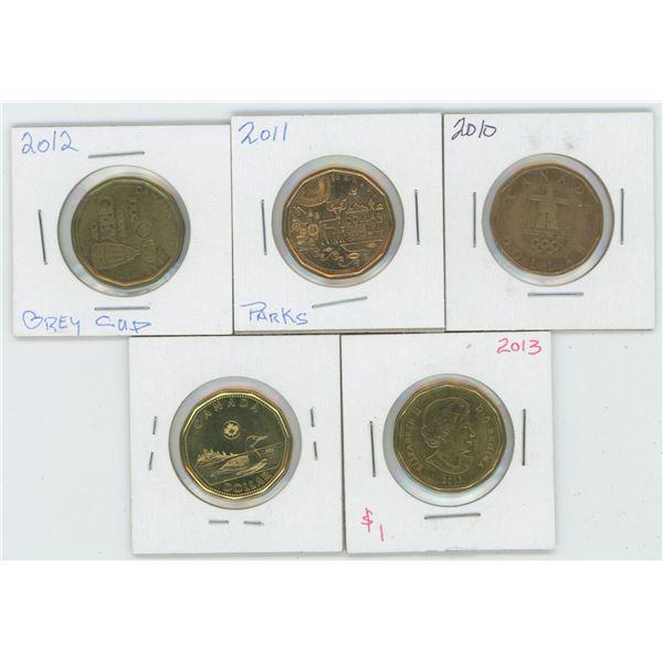 5 X  2010 - 2014 Canadian 1 Dollar Coins