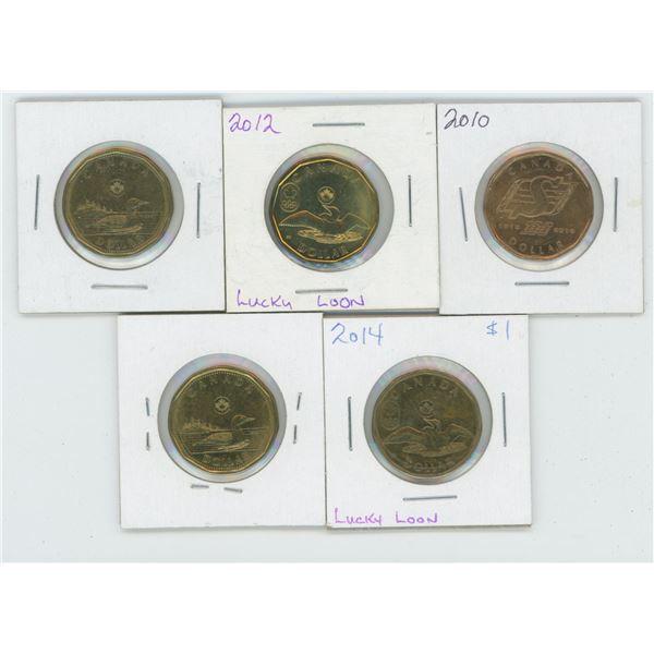 5 X Various 2010 - 2014 Canadian 1 Dollar Coins