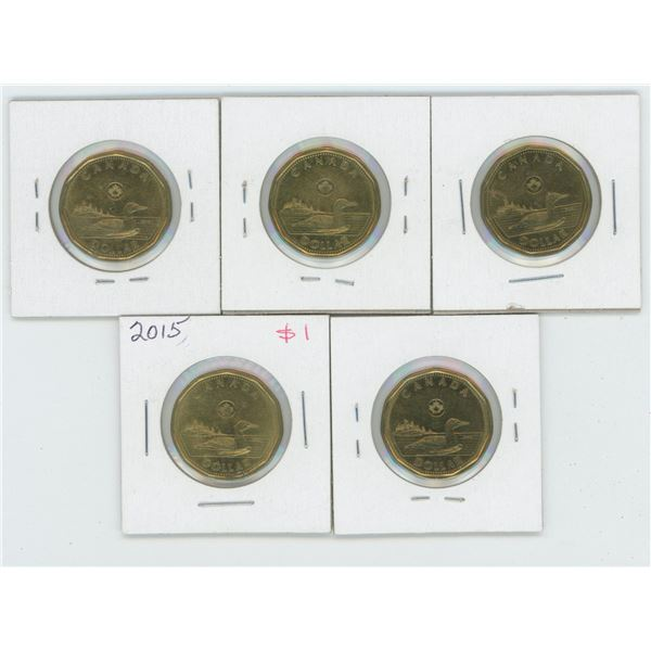 5 X Various 2012 - 2015 Canadian 1 Dollar Coins