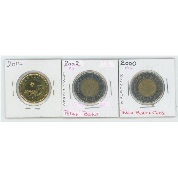 2000 & 2002 Canadian 2 Dollar Coin & 2014 1 Dollar Canadian Coin