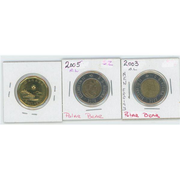 2003& 2005 Canadian 2 Dollar Coin & 2014 1 Dollar Canadian Coin