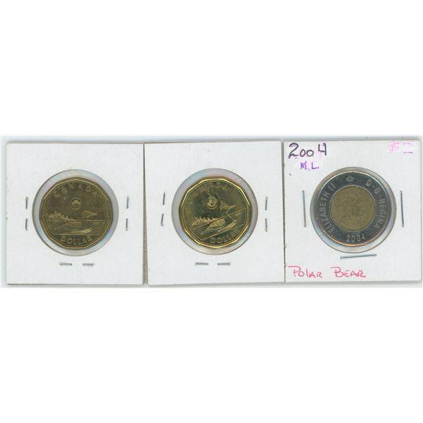 2004 Canadian 2 Dollar Coin & 2 X 2014 1 Dollar Canadian Coin
