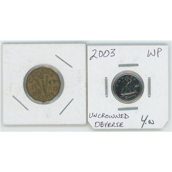 1943 Canadian 1 Cent Coin & 2003 Canadian 10 Cent Coin