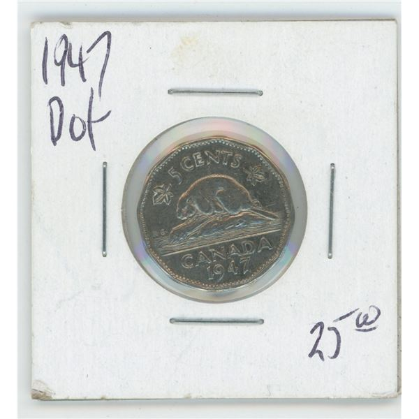1947 Canadian 5 Cent Coin