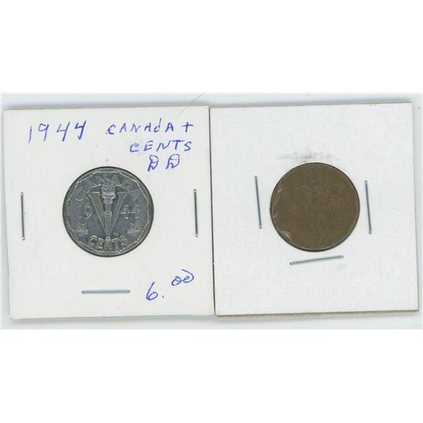 1943 Canadian 1 Cent Coin & 1944 Canadian 5 Cent Coin