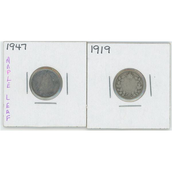 1919 & 1947 Canadian 10 Cent Coins