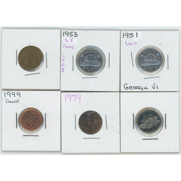 1951 & 53 Canadian 5 Cent Coins & 1943 1 Cent & Various Canadian Coins