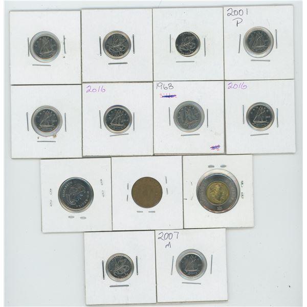 2017 2 Dollar & 1943 1 Cent & 2004 25 Cent & Various 10 Cent Canadian Coins