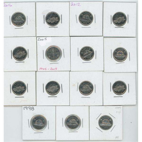 15 X 1977 -2017 5 Cent Canadian Coins