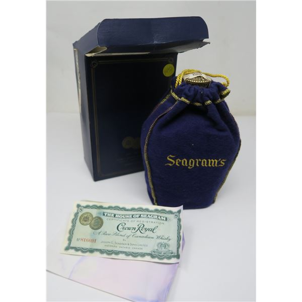 Seagram's Crown Royale Canadian Whisky 25oz Bottle (Unsealed-Over Half Full) with Box, Pouch and Nov