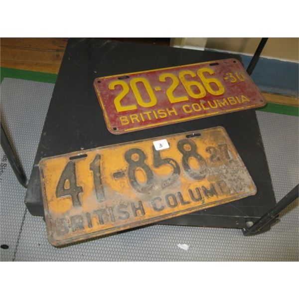 2 BC LICENCE PLATES, 1927 & 1930