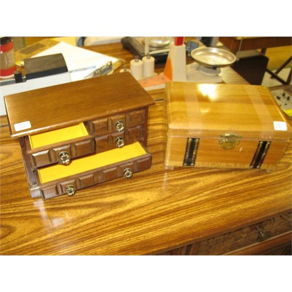 2 WOODEN CASED JEWELLERY BOXES