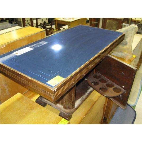 ANTIQUE COFFEE TABLE WITH BLUE MIRRORED TOP & LIQUOR CABINET BASE