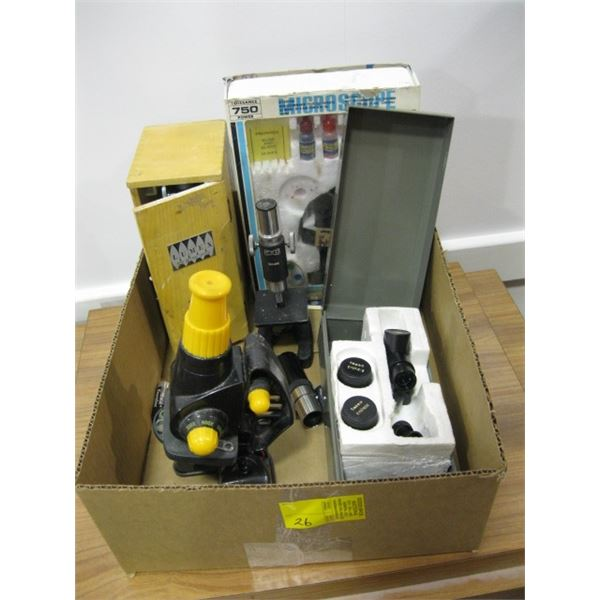 BOX WITH 4 SMALL MICROSCOPES, LENSES, ETC.