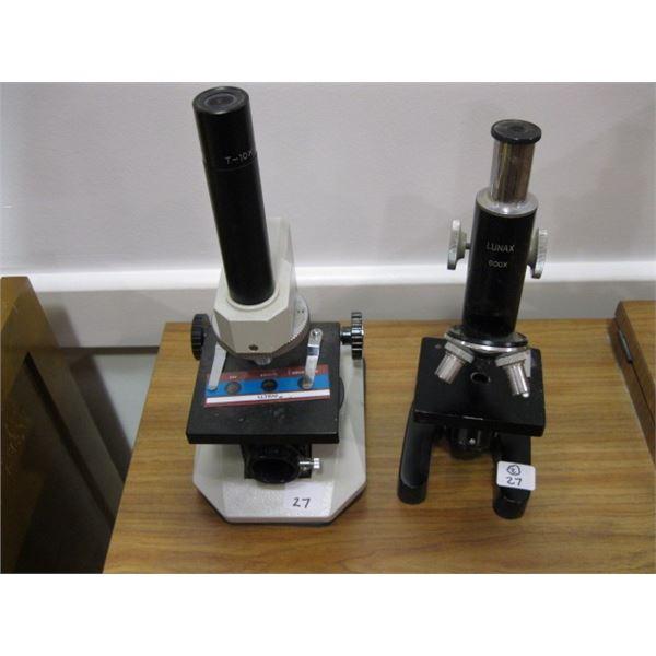 2 SMALL MICROSCOPES, A MEIJI-LABAX & A LUNAX