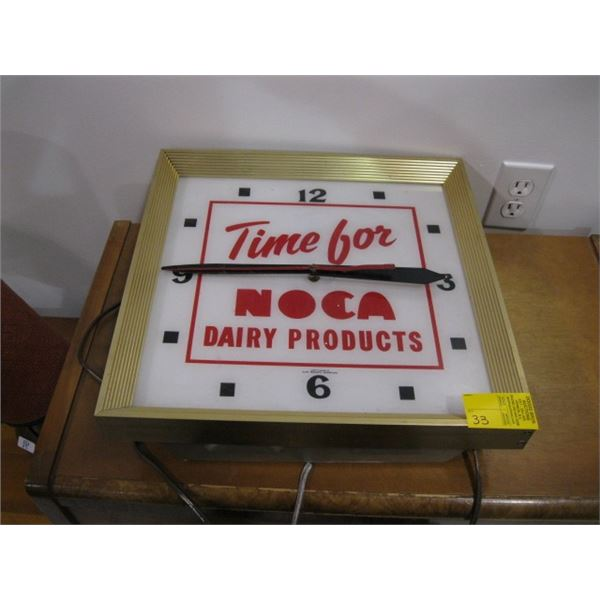 'AS IS' NOCA DAIRY PRODUCTS ELECTRIC CLOCK - NOT WORKING - FOR DISPLAY PURPOSES ONLY