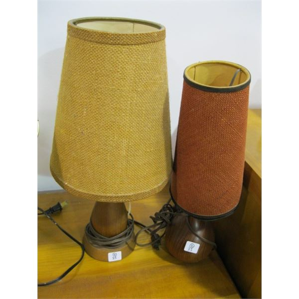 PAIR OF TEAK BASED SMALL TABLE LAMPS