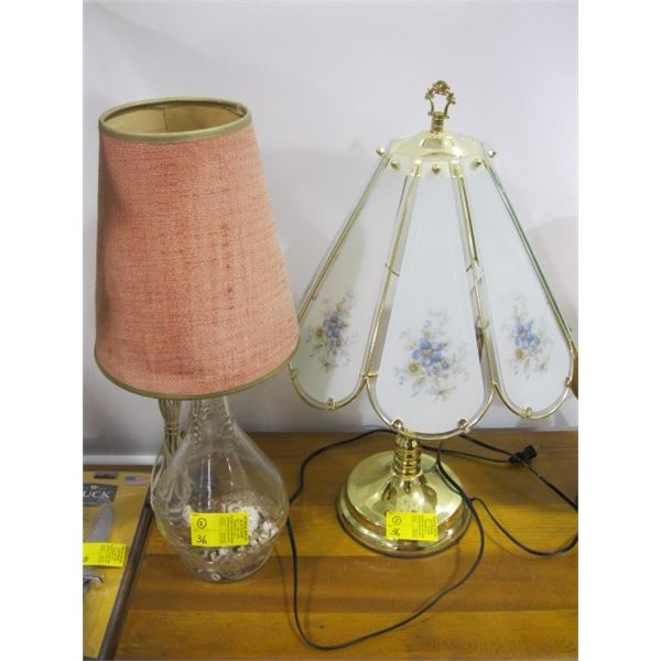 BRASS BASED LAMP & A GLASS BASED LAMP