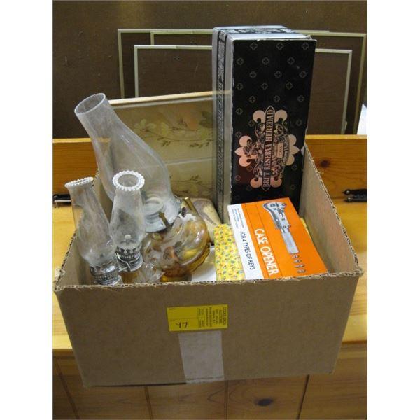 BOX OF MISC. OIL LAMPS, WATCH CASE OPENER, ETC.