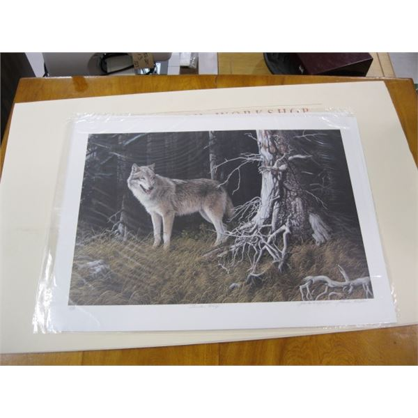 3 NUMBERED PRINTS BY MARLA WILSON. THE TIMBERWOLF, THE ORCAS & THE FOX