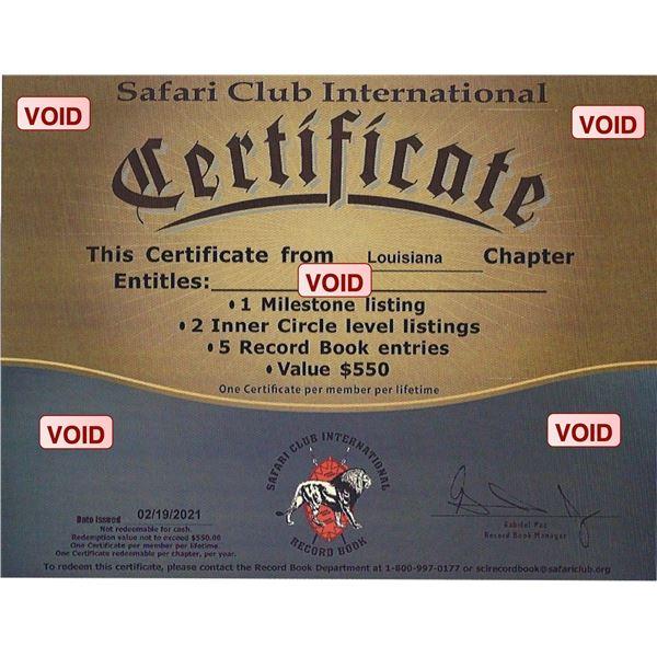 Safari Club International Record Book Certificate