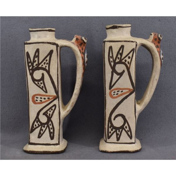 ZUNI INDIAN POTTERY CANDLE HOLDERS