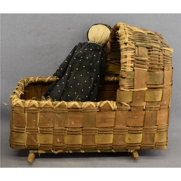 EASTERN INDIAN CRADLE AND CORN HUSK DOLL