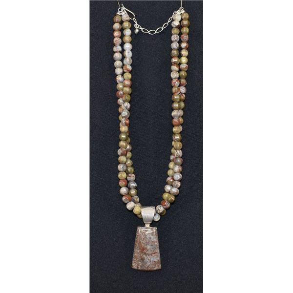 TWO STRAND AGATE BEAD NECKLACE