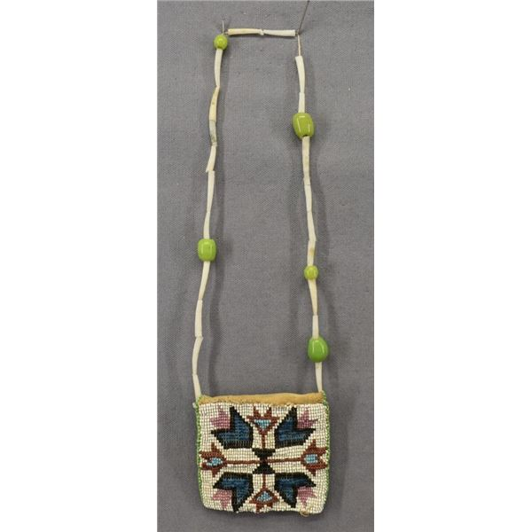 PLAINS INDIAN BEADED NECK POUCH