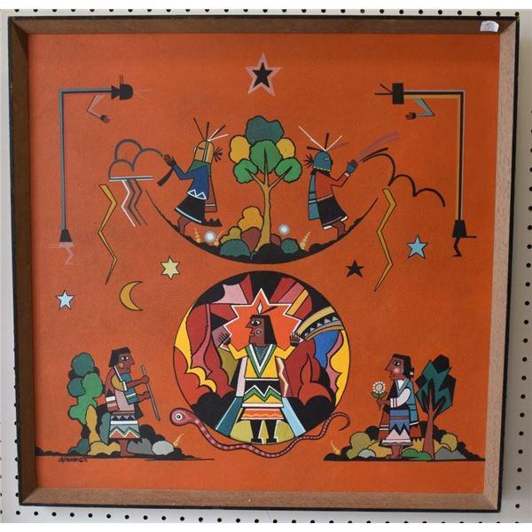 NAVAJO INDIAN PAINTING (DAVID CHETHLAHE PALADINE)