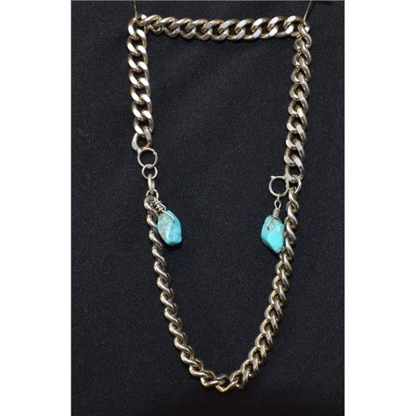 SILVER CHAIN AND TURQUOISE