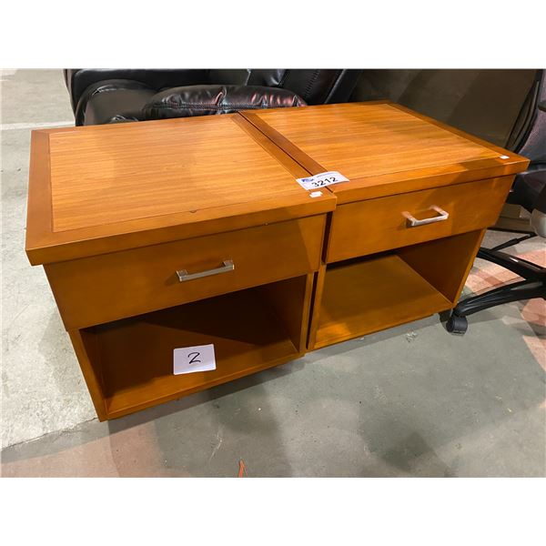 """2 NEW OUT OF PACKAGING SINGLE DRAWER NIGHT TABLES 21 X 22 X 22"""""""