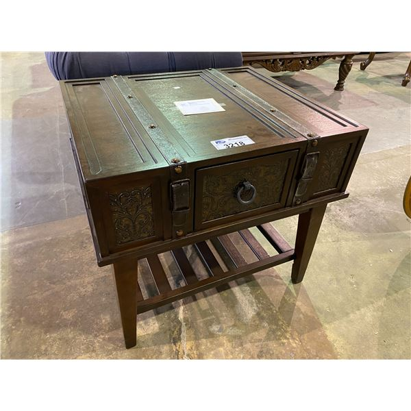 NEW OUT OF BOX SINGLE DRAWER TRUNK STYLE MCKENNA END TABLE 25 X 26 X 29