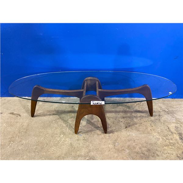 TEAK DECORATIVE COFFEE TABLE (GLASS TOP HAS VISIBLE DAMAGE) 59.5 X 23.5