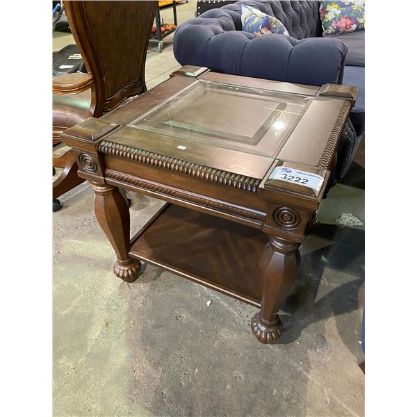 """NEW OUT OF BOX GLASS TOP END TABLE 25 X 26 X 26"""""""