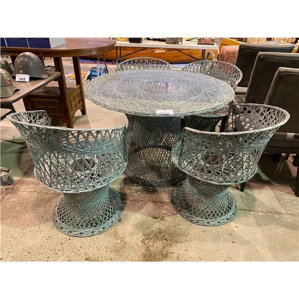 PATIO SET GLASS TOP TABLE + 4 CHAIRS