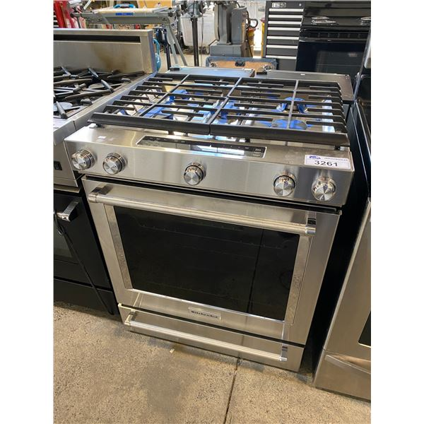 KITCHEN STAINLESS STEEL 5 BURNER GAS STOVE WITH ELECTRIC CONVECTION OVEN 30""