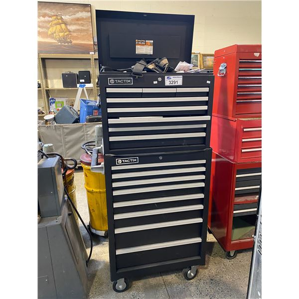 "2 PIECE TACTIX 26"" TOOL CHEST WITH CONTENTS 830LBS TOTAL WEIGHT CAPACITY"