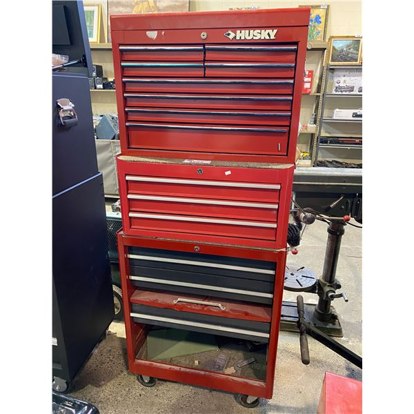 3 PIECE STACKING TOOL CHEST WITH CONTENTS