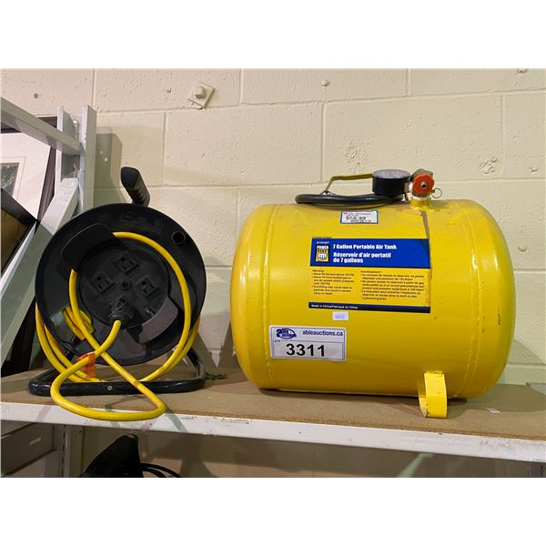 7 GALLON PORTABLE AIR TANK & REEL-UP EXTENSION CORD