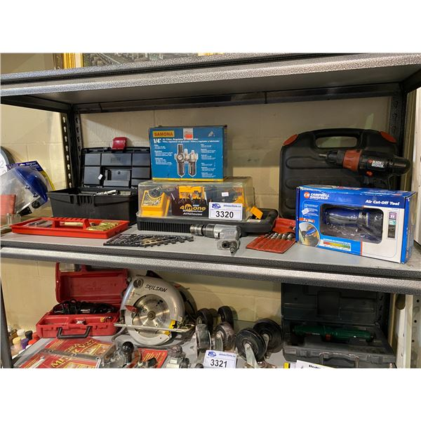 ASSORTED TOOLS, PNEUMATIC HAND TOOL, CAMPBELL HAUSFELD AIR CUT-OFF TOOL, & MORE